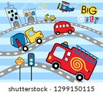 cityscape cartoon with vehicles ... | Shutterstock .eps vector #1299150115