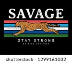 savage text with cheetah... | Shutterstock .eps vector #1299161032
