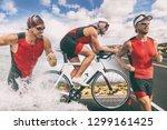 triathlon swim bike run... | Shutterstock . vector #1299161425