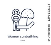 linear woman sunbathing icon... | Shutterstock .eps vector #1299163135