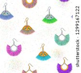 earrings pattern. tassel trendy ... | Shutterstock .eps vector #1299167122