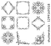 damask vector set of vintage... | Shutterstock .eps vector #1299169318