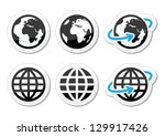 globe earth vector icons set... | Shutterstock .eps vector #129917426