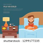 sick men in bed with the... | Shutterstock .eps vector #1299177235