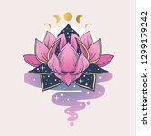 pink lotus flower. vector hand...   Shutterstock .eps vector #1299179242
