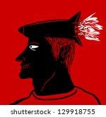 rocket head man  fast idea | Shutterstock .eps vector #129918755