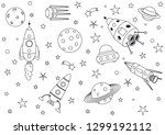 spaceships in the universe | Shutterstock .eps vector #1299192112