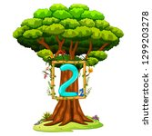 a tree with a number two figure ... | Shutterstock .eps vector #1299203278