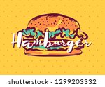 hamburger poster with cool... | Shutterstock .eps vector #1299203332