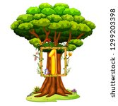 a tree with a number one figure ... | Shutterstock .eps vector #1299203398