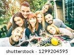 best friends taking selfie at... | Shutterstock . vector #1299204595