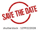 save the date red round stamp | Shutterstock .eps vector #1299222028