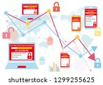 displaying screens infected... | Shutterstock .eps vector #1299255625