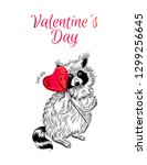 postcard on valentines day with ... | Shutterstock .eps vector #1299256645