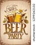 beer party poster design... | Shutterstock . vector #1299262132