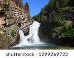 pretty cameron falls on a sunny day  in the town of waterton, in  alberta, canada,