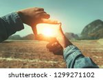 close up hand framing view... | Shutterstock . vector #1299271102