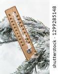 thermometer with subzero... | Shutterstock . vector #1299285148