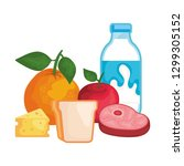 delicious milk bottle with... | Shutterstock .eps vector #1299305152