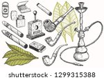 tobacco and smoking sketch set. ... | Shutterstock .eps vector #1299315388