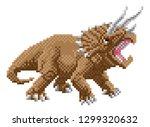 a dinosaur triceratops 8 bit... | Shutterstock .eps vector #1299320632