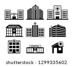 hospital building icon set in... | Shutterstock .eps vector #1299335602