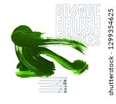 green brush stroke and texture. ... | Shutterstock .eps vector #1299354625
