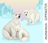 family of white polar bears in... | Shutterstock .eps vector #1299362725
