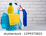 cleaning background. basket... | Shutterstock . vector #1299373822