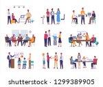 teamwork or team building ... | Shutterstock .eps vector #1299389905