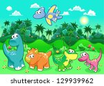 funny dinosaurs in the forest.... | Shutterstock .eps vector #129939962