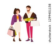 funny couple carrying shopping... | Shutterstock . vector #1299401158