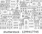 cute hand drawn houses with... | Shutterstock .eps vector #1299417745