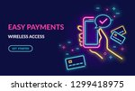 neon sign of payment by credit... | Shutterstock .eps vector #1299418975