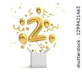 happy 2nd birthday gold... | Shutterstock . vector #1299421465