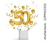 happy 50th birthday gold... | Shutterstock . vector #1299421522