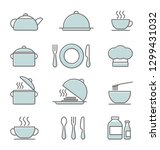 kitchen icons set  colored... | Shutterstock .eps vector #1299431032