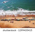 top view of beach in goa india... | Shutterstock . vector #1299435415