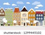 seamless border of cute winter... | Shutterstock .eps vector #1299445102