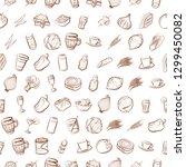 drinks  snacks and vegetables...   Shutterstock .eps vector #1299450082
