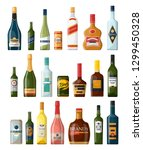set of isolated alcohol bottles ... | Shutterstock .eps vector #1299450328