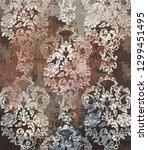 rococo texture pattern vector.... | Shutterstock .eps vector #1299451495