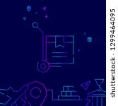 warehouse cart vector line icon....