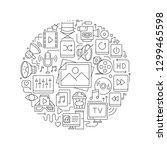 multimedia concept in thin flat ...   Shutterstock .eps vector #1299465598