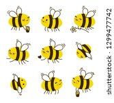 set of kawaii honey bees... | Shutterstock .eps vector #1299477742