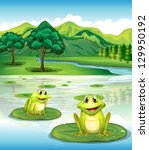 Illustration Of Two Frogs Abov...