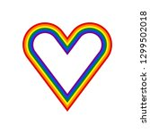 heart shape lgbt rainbow pride... | Shutterstock .eps vector #1299502018