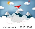 red paper plane are flying to... | Shutterstock .eps vector #1299513562