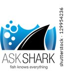 shark fin in water. logo ... | Shutterstock .eps vector #129954236