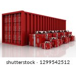 container with gift box. 3d... | Shutterstock . vector #1299542512